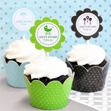 personalized cupcake toppers mod baby silhouette cupcake wrappers cupcake toppers set of 24