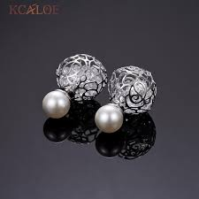 two sided earrings pearl earrings big transparent white hollow flowers