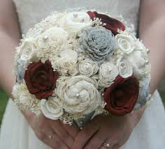 maroon grey sola flower bouquet
