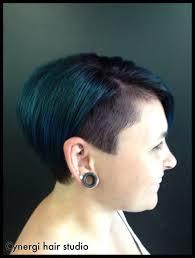 concave short bob shaved side violet blue hair cynergi hair