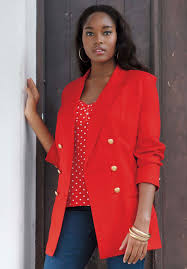 the double breasted blazer is one of the jackets for women that