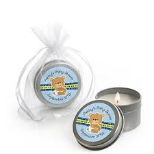 teddy baby shower favors baby boy teddy personalized baby shower candle tin favors