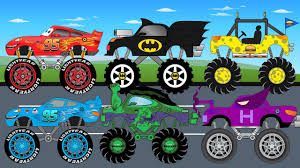 monster truck kids video superheroes monster trucks get in truck parking kids video youtube