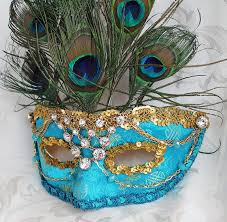 peacock masquerade masks turquoise masquerade mask with peacock feathers by daragallery on