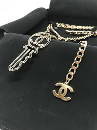 long chain key necklace images Chanel gold cc key leather chain necklace runway 2017 hebster JPG