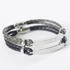 Personalized Silver Bracelets Mens Personalised Leather Identity Bracelet By Suzy Q Designs