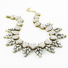 crystal collar statement necklace images Light gray collar bib statement necklace with resin crystal jpg