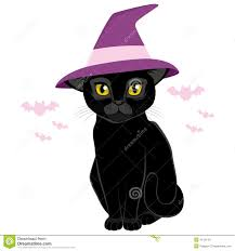 cat in the hat halloween halloween witch hat black cat stock vector image 41181151