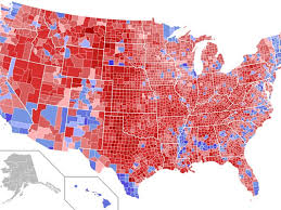 vs clinton are home values higher in or blue counties