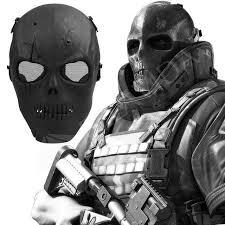 Skeleton Mask Skull Skeleton Mask Airsoft Bb Gun Full Face Protect Wargame Rubber Pa