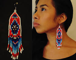 Native American Beaded Earrings Huichol Sun And Moon Beaded Earrings Huichol Native American