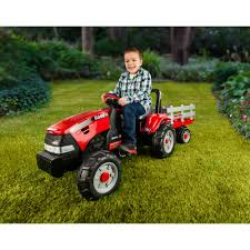 peg perego case ih tractor and trailer pedal ride on walmart com