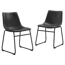 Industrial Dining Chair Faux Leather Industrial Dining Chairs Set Of 2 Saracina Home
