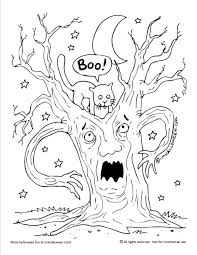 halloween halloween scary tree coloring page tree coloring page