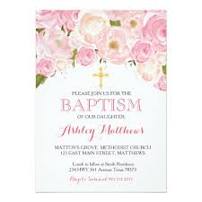 baptism invitations beautiful pink floral baptism invitation zazzle