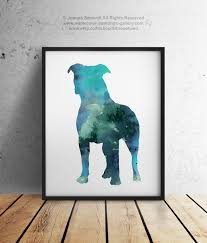 blue pitbull silhouette gift idea abstract kids room dog wall art