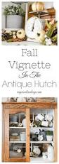 fall vignette in the antique hutch my creative days