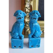 small foo dogs 2 pair small turquoise blue foo dogs figurines statues ceramic