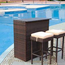 Bar Set Patio Furniture by 3pc Wicker Bar Set Patio Outdoor Backyard Table U0026 2 Stools Rattan