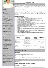 carrier objective for resume cv sunil food technology