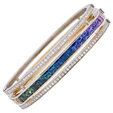 gold bracelet diamonds images M lodie c l ste quot yellow gold bracelet with rainbow sapphires and jpg