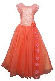 premium shimmering peach dress for girls of age 8 to 14 years 8 9