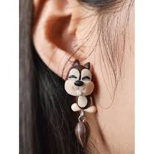 front and back earrings wholesale animal with front back earrings in brown