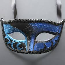 blue black venetian male mask masquerade for wedding dancing