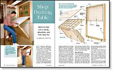 fold away drawing table shop drafting table finewoodworking