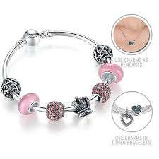 bangle style charm bracelet images Bubble gum queen silver pandora style bracelet bangle combo set jpg