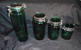 vintage green glass panel wire lid kitchen canister set what u0027s