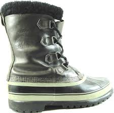 sorel men boots size 9 brown black gray rubber lowers leather