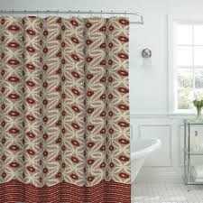 bathroom tikal ikat shower curtain with wainscoting and pedestal
