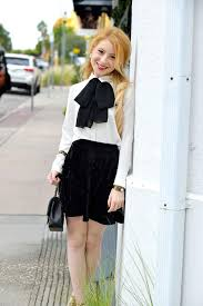 White Blouse With Black Bow Black And White Holiday