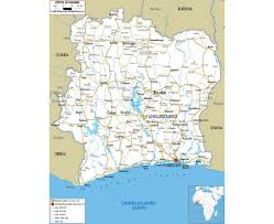 map of abidjan maps of cote d ivoire detailed map of cote d ivoire in