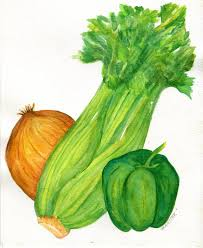celery onion bell pepper watercolor painting original