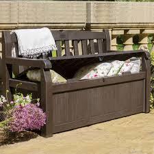 plastic patio deck box storage bench garden all weather brown sofa