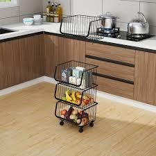vegetable storage kitchen cabinets 5 tiers stainless steel black mesh wire kitchen vegetable storage baskets rs 2250