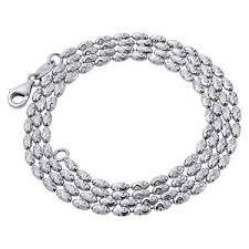 bead diamond necklace images 10k white gold 2mm italian bead rice link chain diamond cut jpg