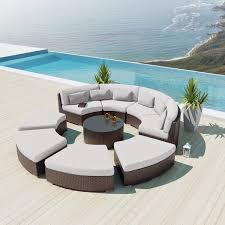 Curved Patio Furniture Set - sofas center outdoor wicker curved sectional sofa venice sofas