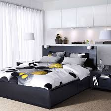 50 ikea bedrooms that look nothing but charming bedding in black and white wit pops of yellow
