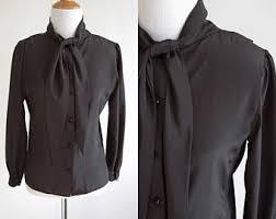 black blouse with white collar black blouse etsy