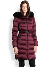 burberry furtrimmed puffer coat in purple lyst