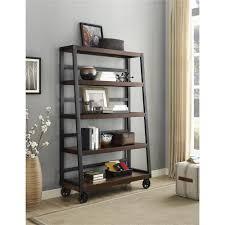 simpli home sawhorse dark chestnut brown ladder bookcase 3axcsaw