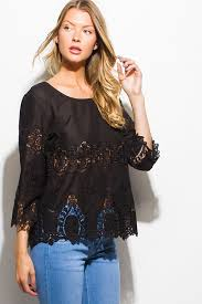 shop black semi sheer cotton crochet lace quarter sleeve scallop