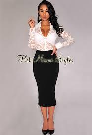 black knit midi length pencil skirt
