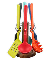 7 pc fiesta silicone multi color utensil set with acacia wood
