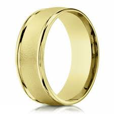 mens yellow gold wedding bands 6mm wire finish men s designer wedding ring in 14k yellow gold
