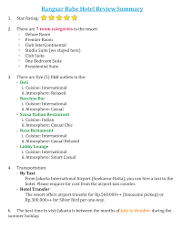 Resume Synopsis Example by On Hotel