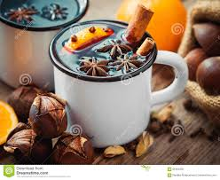 mulled wine in mugs and roasted chestnuts stock photo image
